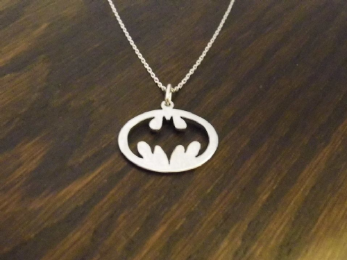 Batman Returns pendant necklace sterling silver handmade